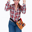 A ecstatic female worker. — Stock Photo