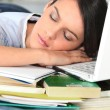 Stock Photo: Woman asleep at her desk