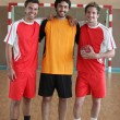 3 handball players — Stock Photo