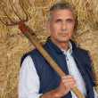 Stock Photo: Farmer holding pitchfork