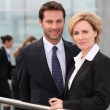 Business colleagues outside the airport — Stock Photo