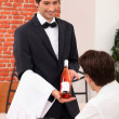 Stock Photo: Sommelier presenting wine