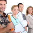 Different career options led by a handyman — Stock Photo