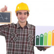 Stock Photo: Builder with A+ rating