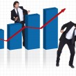 Happy businessman with increasing chart — Stock Photo #7796477