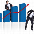 Stock Photo: Happy businessmwith increasing chart