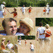 Collage of couple with children in the countryside — Stock Photo