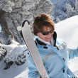 Stock Photo: Older womskier