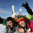 Group of teenage skiers — Stock Photo