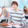Teenage students working in classroom — Stockfoto