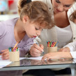 Stock Photo: Little girls drawing