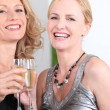 Two women drinking champagne — Foto de stock #7799478