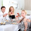 Stock Photo: Dinner with friends