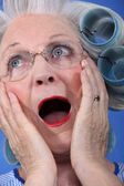 şok yaşlı kadın — Stok fotoğraf
