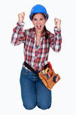 A ecstatic female worker. — Stockfoto