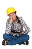 A grumbling tradeswoman — Stock Photo