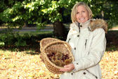 Woman gathering chestnuts — Stock Photo