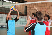 Players on a volleyball court — Stock Photo