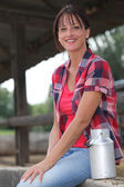 Portrait of a woman in a farm — Stock Photo