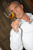 Wine expert making tests in a cellar — Stock Photo