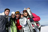 Group of friends at ski resort — Stock Photo