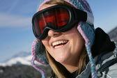 Woman in ski goggles — Stock Photo