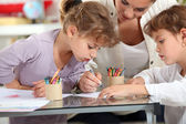 Little girls drawing — Stock Photo