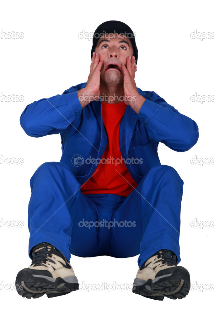 A crying handyman. — Stock Photo #7790228