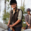 Man and woman horse riding — Stock Photo
