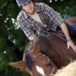 Stock Photo: Young mriding horse