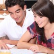 Young couple looking at documents together — Stok fotoğraf