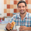 Stock Photo: Meating continental breakfast