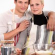 Stock Photo: Couple baking
