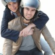 Happy couple on a motorcycle — Stock Photo