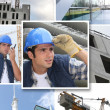 Mosaic of builder on urban construction site — Stock Photo