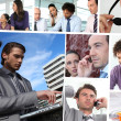 Mosaic of business working — Stock Photo