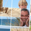 Mosaic of father and sun at the beach — Stock Photo