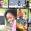 Leisure time themed montage — Stock Photo