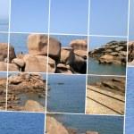 石灯塔、 岩石和海 — 图库照片