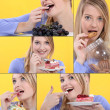 Serious of snapshots showing sweet tooth girl — Stock Photo