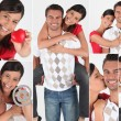 Collage of a couple in love - Foto de Stock  