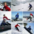Couple of skiers riding downhill — Stock Photo