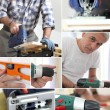 Photo-montage of a carpenter — Stock Photo #7802240