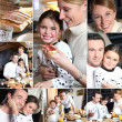 Montage of happy family having breakfast — Stock Photo