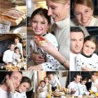 Montage of happy family having breakfast — Stock Photo #7802253