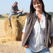 Happy couple in their farm — Stock Photo