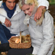 Stock Photo: Couple picking wild mushrooms
