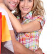 Royalty-Free Stock Photo: Portrait of a couple with shopping