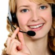 Stock Photo: Blond call-center worker
