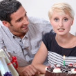 Stock Photo: Mcelebrating girlfriend's birthday
